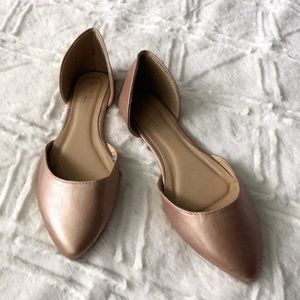 Rose Gold Pointy Flat Mule NWOT Vegan Leather